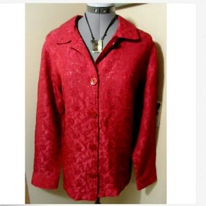 New APPARENZA Dress Shirt L Red floral long sleeve